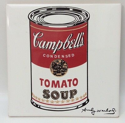 Andy Warhol Tomato Soup Can Tile Trivet Kitchen Decor Signed