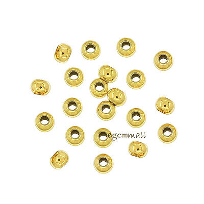 50x Gold Plated Sterling Silver Seamless Round Spacer Crimp Beads 2mm #97504