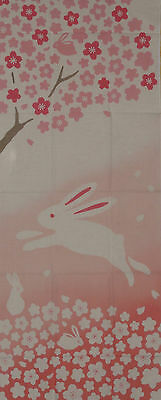 Tenugui Japanese Gift Cotton Pink 'Bunny Rabbit in the Cherry Tree' Fabric