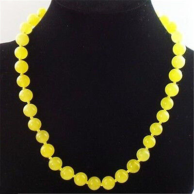 """Beautiful Natural 10mm yellow Jade Round Beads Necklace 18"""" AAA"""