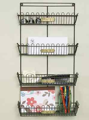 Primitive new large basket wall organizer w/brass metal tags/ nice wall storage