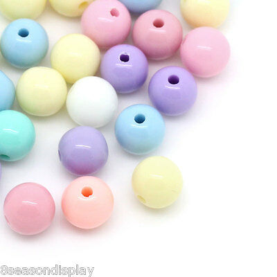 500PCs Mixed Acrylic Round Ball Spacer Beads 6mm Dia.