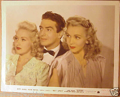 BETTY GRABLE VICTOR MATURE autographed 8X10 photo RD33 BTG22721