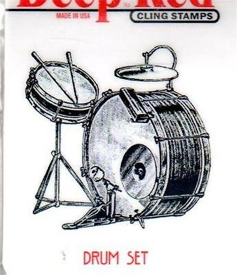 New CLING Deep Red Rubber Stamp Vintage Drum Set music instrument Free USA ship
