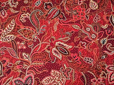 Maharaja Judy Martin Quilting Treasures BTY Paisley Floral Maroon Red Gold Coral