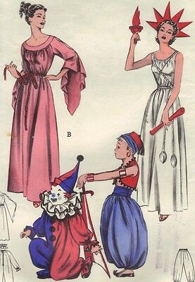 Butterick 6758 Vtg 1950s-60s Misses Costume Pattern Lady Liberty Grecian + 34