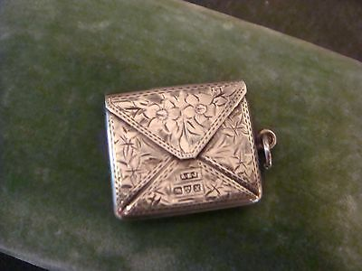 Antique New Castle Sterling Stamp Box Pendant Patterned Box Vanity Chatelaine