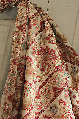 Antique French 19th century Embroidered look fabric c 1880 light weight