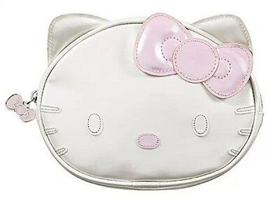 HELLO KITTY Cosmetic Case Makeup Bag Limited Edition~ White & Pink