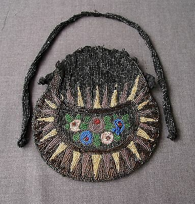 ANTIQUE 1920'S ART DECO FLAPPER FLOWERS BEADED PURSE BAG WITH STRAP   #387