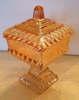 Vintage Carnival Glass Covered Dish Amber-marigold Excellent Condition