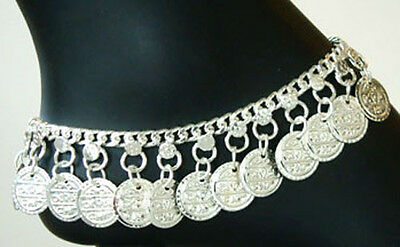 New INDIA BOHO Coin Hippie SILVER Drop ANKLET Belly Dance Handcrafted