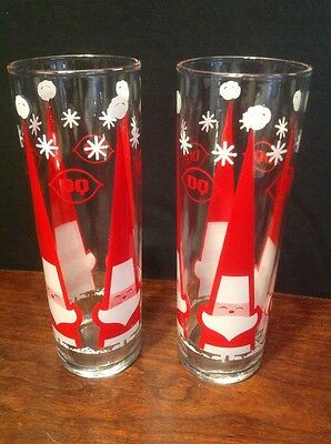 Vintage DQ Dairy Queen Christmas Santa Claus Slim Drinking Glass Lot Of 2