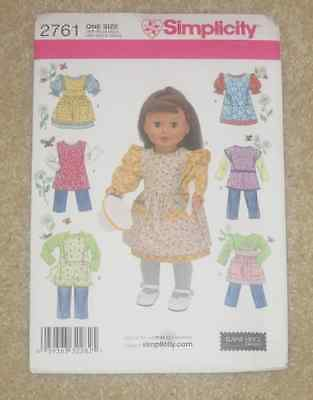 """SIMPLICITY S2761 NEW UNCUT PATTERN 18"""" DOLL CLOTHES & ACCESSORIES"""