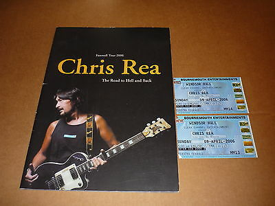 """Chris Rea """"The Road To Hell And Back"""" 2006 UK Tour Programme + 2 Tickets"""