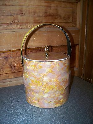 Vintage Retro Mottled Vinyl Ice Bucket with Ice Tongs