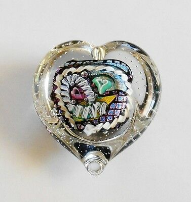 Randy R Strong Art Glass Heart Shaped Paperweight Dichroic Glass Hearts & Ribbon