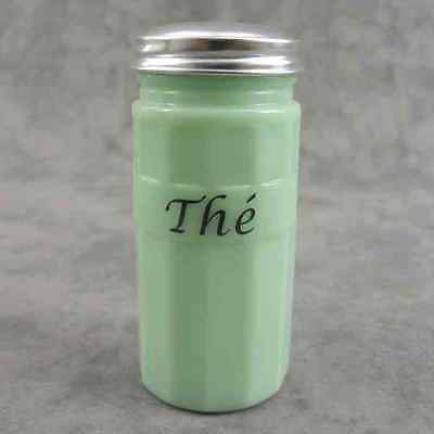 """JADEITE GREEN GLASS FRENCH """"THE"""" TEA CANISTER w/ Metal Lid ~ COLUMN DESIGN ~"""