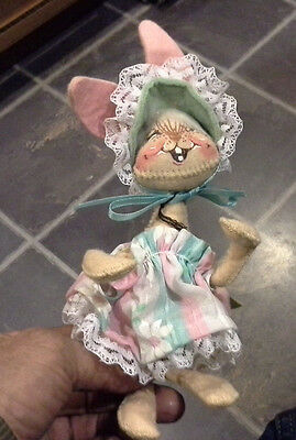 "Cute Vintage Annalee Female Rabbit in Dress Doll Figure 1965 - 7"" Tall"
