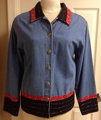 Don't Mess With Texas, Sz L, Southwestern Denim Jean Jacket w/Sequins & Beads