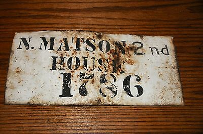 """Original New England Antique House Sign N. Matson 2nd House 1786"""" Early Tin Sign"""
