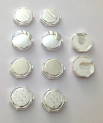 925 Sterling Silver  Button Covers For Shirts - Made In Italy