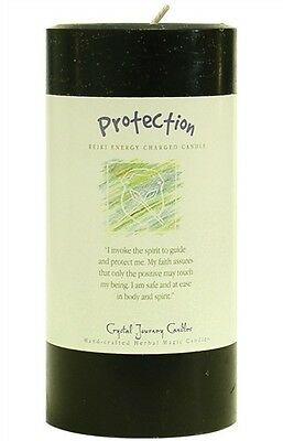 PROTECTION REIKI candle Crystal Journey CANDLES 3x6 Pillar Herbal Magic Wicca