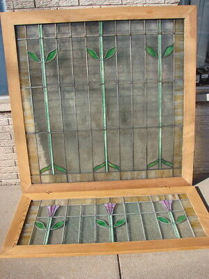 Antique Framed Leaded Stained Glass 19th Century Window Hanging Rescued Glass