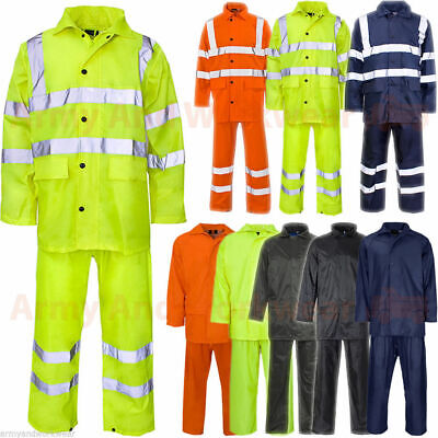 Mens Ladies Waterproof Rainsuit Rain Suit Set Jacket Trouser Puddle Work Wear