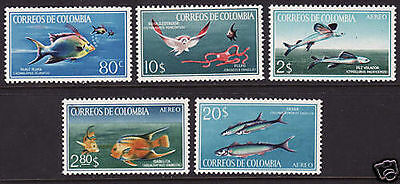 COLOMBIA. 1966. Fishes Set. SG: 1176/80. Mint Never Hinged.