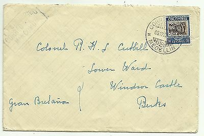 COVERS-COLOMBIA. 6/12/1939. MANCOMUN Airmail Cover to Windsor Castle.