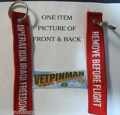 Operation Iraqi Freedom Key Chain Remove Before Flight Embroidered Key Ring