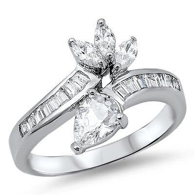 925 Sterling Silver Clear CZ Elegant Charm Engagement Wedding Ring Size 3-11