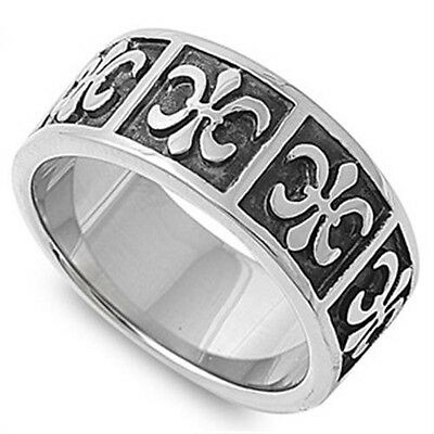 Stainless Steel Magic Good Luck Fleur De Lis Sign All Around Band Ring Size 9-15