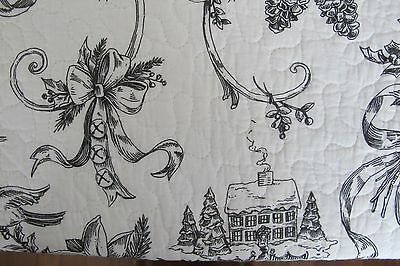 DOMAIN CHRISTMAS BLACK CREAM TOILE 3PC KING QUILT SET HOLLY BIRDS WINTER HOLIDAY