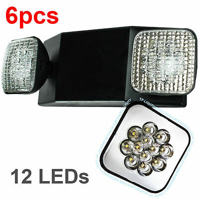 6pcs ALL LED Emergency Exit Light - Standard Square Head UL924 Case Black Body