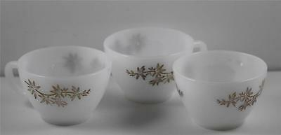 Vintage Federal Milk Glass  Coffee Cups Golden Glory Pattern Set of 3