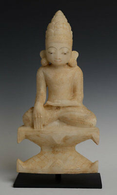 18th Century, Shan, Antique Burmese Alabaster Seated Crowned Buddha