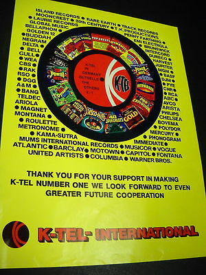 K-TEL in Germany outsells others 1976 PROMO POSTER AD