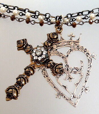 Large Bronze FRENCH Rose Cross Silver LUCKENBOOTH Heart CROWN Strand Necklace