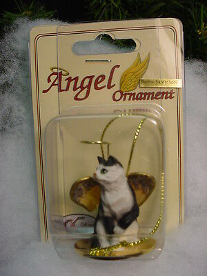 BLACK WHITE Kitty CAT ANGEL Ornament HAND PAINTED Figurine NEW kitten Christmas