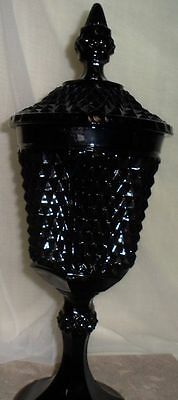 """Diamond Point Black Glass Pedestal Compote Dome Lid Depression Dish Imperial 15"""""""