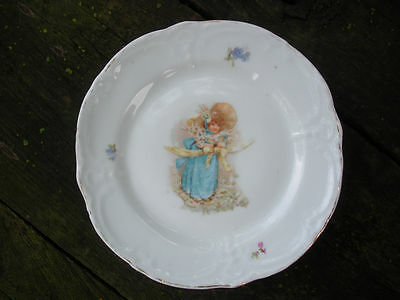 Child's Antique TransferWare Plate with Girl in Blue