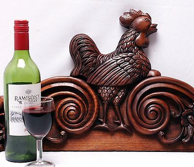 Incomparable Majestic Wooden Pediment Cock Rooster Finial Crest