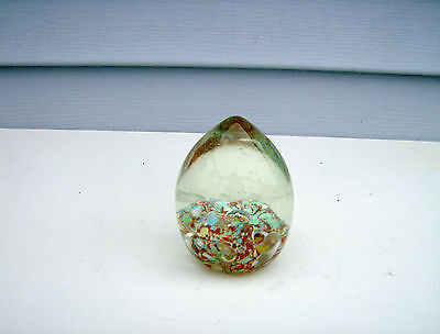 Blown Art Glass Egg Paperweight With Bubbles