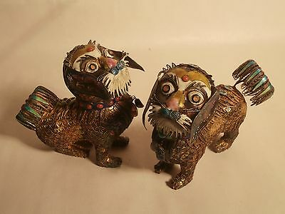 Antique Chinese .925 Silver Cloisonne  Enamel Dog Figures Rare