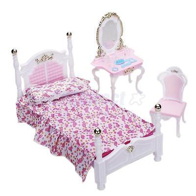 Bedroom Furniture Bed Pillow Mattress Dress Table Play Set for Barbie Doll House