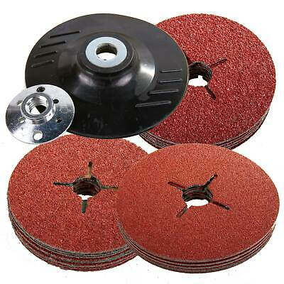 Silverline 115mm Rubber Backing Pad for Angle Grinder & 30 Fibre Sanding Discs
