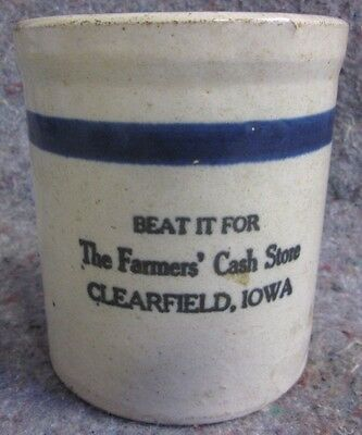 ANTIQUE RED WING STONEWARE CLEARFIELD IOWA STORE ADVERTISING BEATER JAR Lot 91