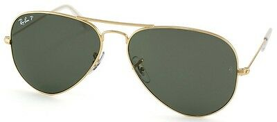 Ray Ban RB 3025 Large Metal Aviator 001/58 Gold Polarized Sunglasses 62mm Lens